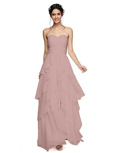 1cdcb0d05258 Γραμμή Α Καρδιά Μακρύ Σιφόν Φόρεμα Παρανύμφων με Φλυαρία Φούντα Πιασίματα  Χιαστί με LAN TING BRIDE