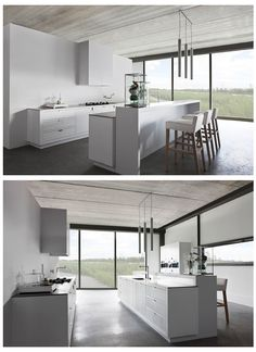 Minimal Kitchens by Piet Boon Love the banks of windows and the window screens.  Nice counter space and storage.