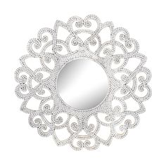 This round mosaic mirror brings an edge of opulence to a room setting. The expertly set squares of mosaic glass fit perfectly into each contour and frame a plain round mirror glass in the center. Feat