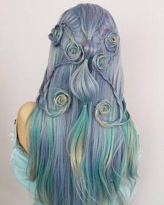 Hair Color Blue, Anastasia, Dyed Hair, Dreadlocks, Hair Styles, Beauty, Ideas, Hair Plait Styles, Hair Makeup