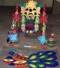 Peacock Rangoli Decor for Janmashtami