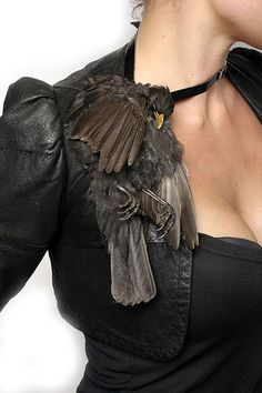 JULIA DEVILLE-AUSTRALIA Piece: Bird Shoulder Piece Starling, Gold Leaf, Sapphires, Leather