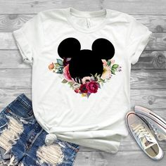 disney greenery shirt, disney shirt floral mickey and minnie, disney shirts for the family, matching disney shirts Cute Disney Shirts, Cute Disney Outfits, Matching Disney Shirts, Disney Shirts For Family, Family Shirts, Trendy Outfits, Girl Outfits, Skater Outfits, Emo Outfits