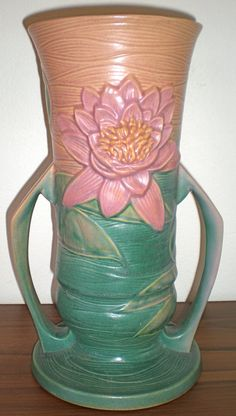 Roseville Pottery Water Lily Vase 14 by LilahVintage on Etsy, $270.00