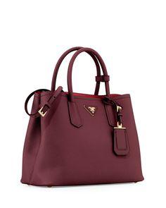 NMS16_V2NPX Prada Saffiano, Miuccia Prada, Neiman Marcus, Shoulder Strap, Handbags, Tote Bag, Red, Leather, Totes