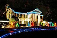 graceland   Graceland in Christmas Lights.