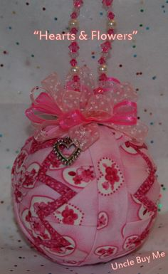 Quilted Ornaments Valentine's Day Quilt Ball Pink