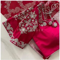 Indian Wedding Outfits, Indian Outfits, Hand Work Blouse Design, Bridal Blouse Designs, Hand Embroidery Designs, Half Saree, Alexander Mcqueen Scarf, Hanger, Boutique
