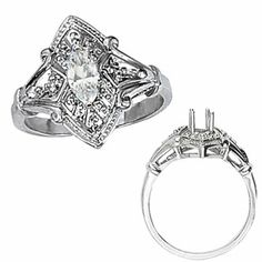 My wedding diamond would fit in this setting! Amazon.com: Ann Harrington Jewelry 14k White Gold .02 Ct Tw Diamond Antique Style Engagement Ring, 8x4 mm Marquise Cut Semi Setting: Jewelry...