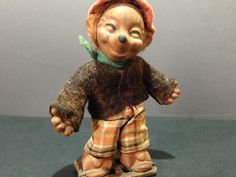 Vintage Germany Doll Hedgehog, Rubber Toy, Wire, Textile, Old GDR DDR antique