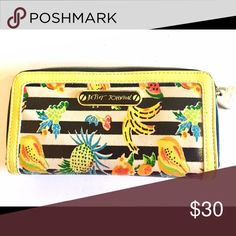 Betsy Johnson wallet Fruit embellished yellow and black Betsy Johnson wallet. Betsey Johnson Bags Wallets