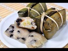 How to make Anksom Jayk (Sticky rice with banana and black beans) អន្សមចេក - YouTube