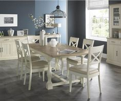 bentley designs chartreuse aged oak and antique white 4 10 extension dining table with 6 x back chairs