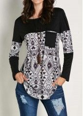 Long Sleeve Grey Patchwork T Shirt on sale only US$28.27 now, buy cheap Long Sleeve Grey Patchwork T Shirt at liligal.com