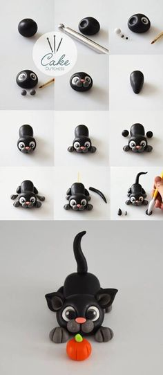 How to make a black cat/kitten from fondant. - nelia naira How to make a black cat/kitten from fondant. How to make a black cat/kitten from fondant. Cake Dutchess, Chat Fondant, Fondant Toppers, Fondant Cakes, Cat Cake Topper, Fondant Bow, Fondant Flowers, Marshmallow Fondant, Cupcake Toppers