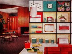 Kitchen circa 1960s...need to show my husband this so he gets the difference between 50s and 60s style kitchens....
