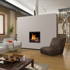 The Dimplex Opti-Myst Pro 400 Built-In Electric Fireplace - features realistic flame and smoke effects for a truly life-like wood burning fire experience. Small Electric Fireplace, Wood Burning Fires, Built Ins, Home Interior Design, Fireplaces, Design Ideas, Home Decor, Kitchen, Hearths