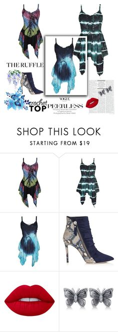 """""""Bohemian Gypsy Tie Dye Tops"""" by baydeals ❤ liked on Polyvore featuring Barneys New York, Lime Crime and Allurez"""