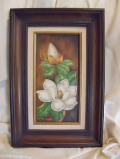 Beautiful MAGNOLIA FLOWER PAINTING on canvas in by KimCycleDesigns