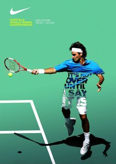 Nike Tennis Posters by Leo Rosa Borges Nike Poster, Nike Tennis, Creative Advertising, Advertising Design, Sports Advertising, Gfx Design, Logo Design, Nike Design, Tennis Posters