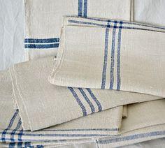 vintage blue stripe linen kitchen towels