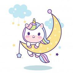 Cute Unicorn vector on moon, magic sleeping time for sweet dream pastel color, pony cartoon Kawaii animal with star, Nur Kawaii Illustration, Unicorn Illustration, Unicorn Cat, Cute Unicorn, Kawaii Drawings, Cute Drawings, Unicorn Wallpaper Cute, Cute Kawaii Animals, Unicorn Pictures