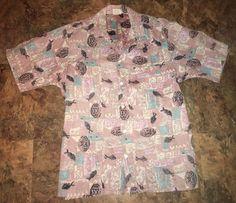 Vintage Barefoot in Paradise Reverse Print Fish Hawaiian Shirt Medium Aloha #BarefootinParadise #Hawaiian