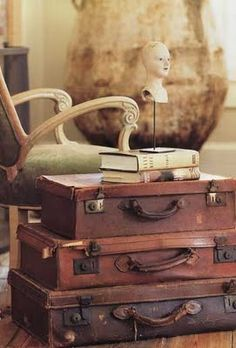 suitcases and books.......I could sit here and read for hours.