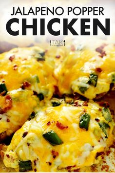 This Jalapeno Popper Chicken features juicy, perfectly cooked chicken breasts smothered by a melty trio of cheeses that come speckled with bits of thick-cut bacon and diced jalapenos. And, lucky for all the healthy eaters out there, this crowd-pleasing chicken dinner is also gluten-free, low-carb, and even keto-approved! Jalepeno Popper Chicken, Jalapeno Poppers, Thing 1, Chicken Breasts, Dinner Recipes, Dinner Ideas, Casserole Dishes, Family Meals, Cooked Chicken