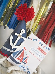"""This oh-so-creative nautical first birthday party features clever ideas like """"rope"""" cake pops, a ribbon """"anchor"""", DIY photo bunting & more! Boy First Birthday, First Birthday Parties, Birthday Party Themes, Birthday Invitations, First Birthdays, Birthday Ideas, Communion, Babyshower, Nautical Party"""
