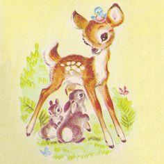 Cute Vintage Deer Illustration