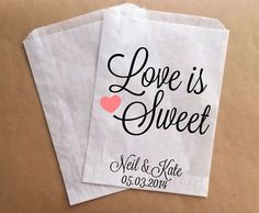 Wedding Candy Buffet Bags Wedding Favor Bags by prettypaperparlor, $25.00 (could use for cookies)