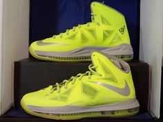 new style b6df7 c29ba NIKE LEBRON X 10 VOLT GREEN WOLF GREY PURE PLATINUM 541100 700  200