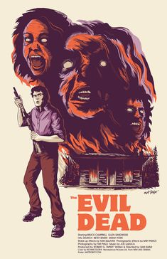 """mattrobot: """"Evil Dead poster by Matt Talbot My poster today is for Evil Dead, which premiered on this day (October in I'm drawing horror posters each day this month. Horror Movie Posters, All Horror Movies, Cinema Posters, Movie Poster Art, Scary Movies, Horror Art, Film Posters, Bruce Campbell Evil Dead, Horror Pictures"""