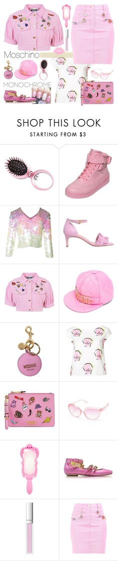 """Color Me Pretty: Head-to-Toe Pink"" by yours-styling-best-friend ❤ liked on Polyvore featuring Charlotte Russe, Moschino, Boutique Moschino and RMK"