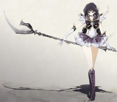 Sailor Saturn and her scythe, the Silence Glaive. She truly is the Goddess of Death. #sailormoon
