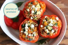 I used Couscous instead of Quinoa, it was delish! Quinoa Stuffed Peppers with Feta Healthy Cooking, Healthy Eating, Cooking Recipes, Capsicum Recipes, Quinoa Stuffed Peppers, Stuffed Capsicum Vegetarian, Eat Better, Bbg, Vegetarian Recipes