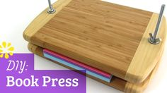 """In this tutorial, I'll show you how to make your own book press with affordable materials that are easy to find. Materials Used: 2 - x Eco Smart bamboo cutting boards 2 - x carriage screws 2 - washers 2 - wing nuts"" Bookbinding Tools, Bookbinding Tutorial, Bookbinding Materials, Handmade Journals, Handmade Books, Handmade Rugs, Handmade Crafts, Book Crafts, Paper Crafts"