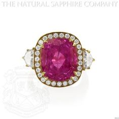 Important 18K Yellow Gold, 16.89 Carat Cushion Pink Sapphire and Diamond Ring.