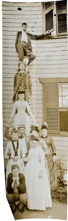 "The strange and forgotten Edwardian sport of ""stacking"" for a photograph, pre-photoshop! :)"