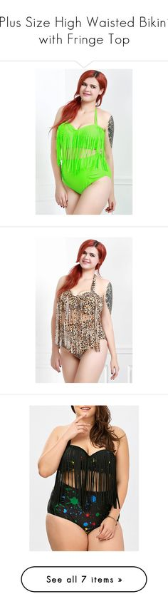 """Plus Size High Waisted Bikini with Fringe Top"" by rosegal-official ❤ liked on Polyvore featuring swimwear, bikinis, plus size fringe bikini, high waisted bikini swimwear, women's plus size swimwear, plus size swim wear, bikini swimwear, plus size fringe swimwear, plus size bikini and leopard bikini"