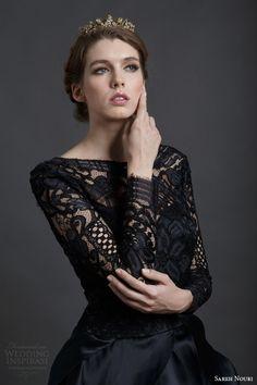 sareh nouri spring 2016 bridal mona lisa black wedding dress ball gown long sleeves close up bodice