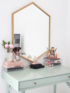 Kate La Vie - Dressing table/vanity make up storage room tour.  I love the desk/table, I love that it isn't white. Kates styling is always on point, using that hint of pink with the duck egg blue is just beautiful. And lets just take a moment for that mirror shall we. Major heart eyes over here!                                                                                                                                                      More