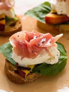 Grilled Peach and Burrata Crostini...I will omit the prosciutto for my vegetarian friends!