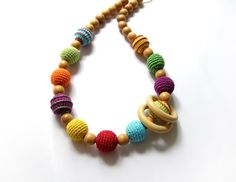 Rainbow nursing necklace with wooden ring - Teething necklace - Breastfeeding Necklace - Crochet Necklace - Gift for Babywearing Moms