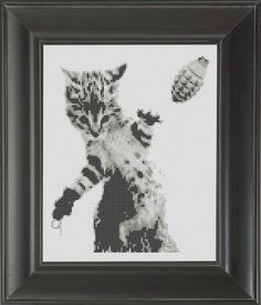 Cat With Grenade BW - Cross Stitch Pattern Chart – Crass Cross Cross Stitch Charts, Cross Stitch Patterns, Dmc Floss, Color Schemes, Cat, Frame, Instagram Posts, Design, R Color Palette
