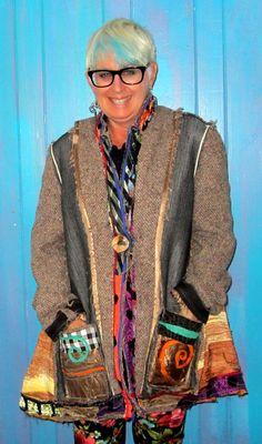 Wool Tweed upcycled Collage Coat