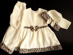 Girls Custom Ecru Leopard Velvet Fleece Dress Hat Pants Outfit Siz 2 Church #Custom #DressyChurch