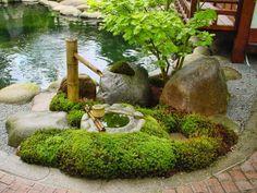 Nice japanischer garten bambus brunnen gestalten natursteine gartenteich gr ne pflanzen