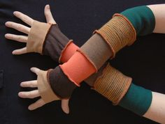 Arm Warmers Gloves Mittens Fingerless Made from Recycled Clothing Green Orange Brown Winter Fashion Upcycled Clothing